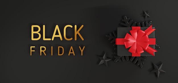 Czarny piątek wyprzedaż pudełko na prezent zamknij okładkę projekt premium kreatywny prezent szablon renderowania 3d