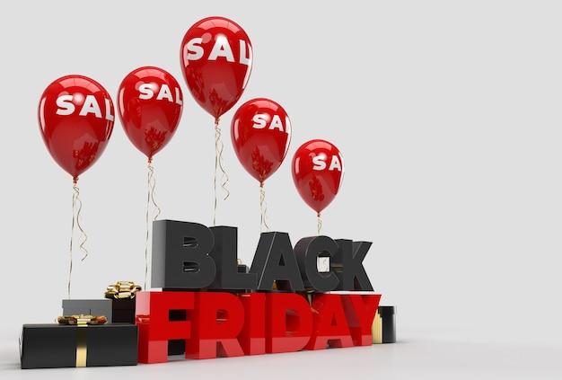 Czarny piątek z marketingową koncepcją biznesową balon