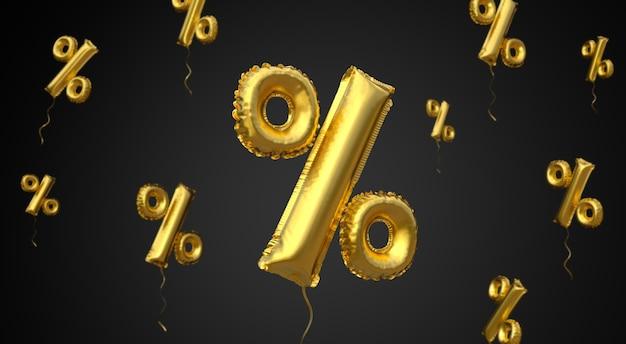 Czarny piątek złoty balon symbol procentu na czarnym tle renderowania 3d