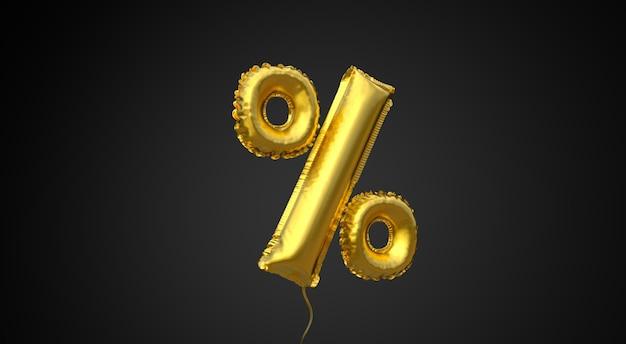 Czarny piątek złoty balon symbol procentu na czarnym tle skopiuj miejsce na tekst renderowania 3d