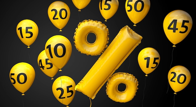 Czarny piątek żółte balony z symbolem procentu na czarnym tle