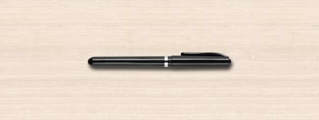 Czarny pisak na białym tle na białej powierzchni drewnianych