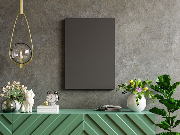 Czarny plakat na szafce w salonie na pustej ścianie betonowej, renderowanie 3d