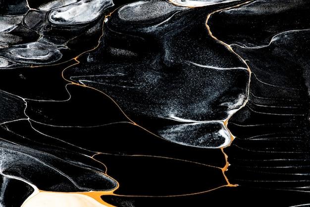 Czarny płynny marmur tło streszczenie płynna tekstura sztuka eksperymentalna