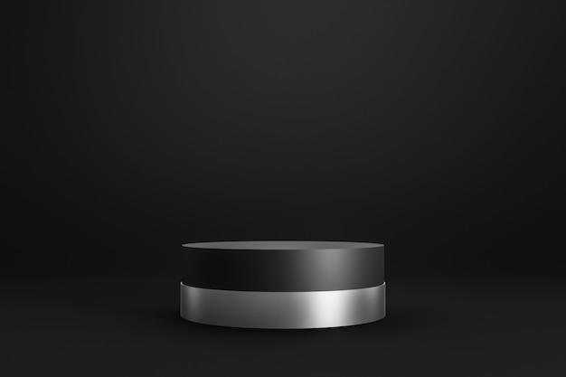 Czarny podium lub stojak na ciemnym tle z cylindrycznym stojakiem i srebrnym pierścieniem.