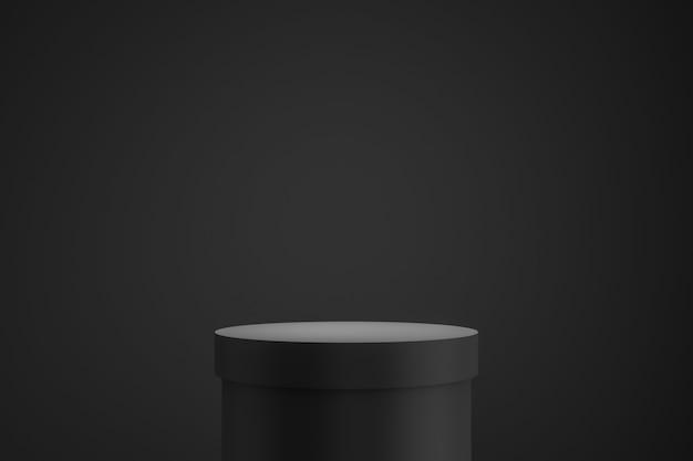 Czarny podium lub stojak na ciemnym tle z koncepcją stojaka butli.