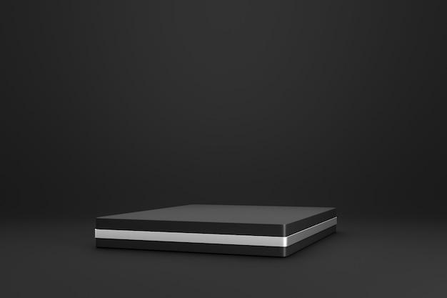 Czarny podium lub stojak na ciemnym tle z koncepcją stojaka i srebrnego pierścienia.