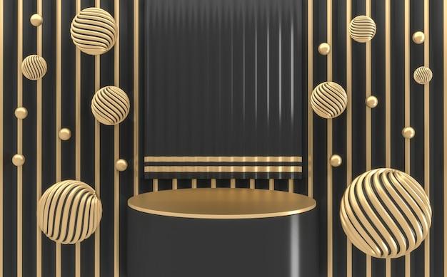 Czarny podium stojak na produkty z czarnym renderowaniem 3d