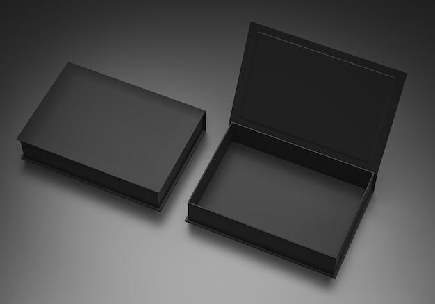Czarny pusty karton z twardej tektury prostokątnej makiety szablon do prezentacji marki, renderowania 3d
