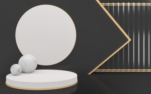 Czarny pusty podium wyświetlacz minimalistyczny geometryczny. renderowanie 3d