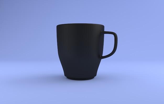 Czarny realistyczny kubek makieta 3d renderowany