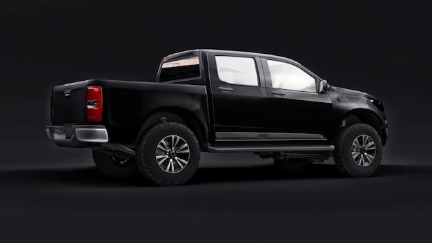 Czarny samochód na czarnym tle renderowania 3d
