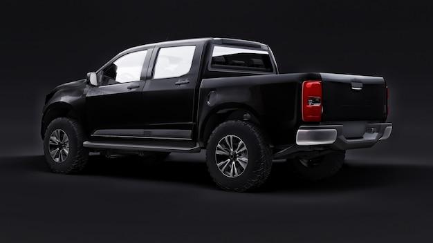 Czarny samochód pickup na czarnym tle. renderowania 3d.