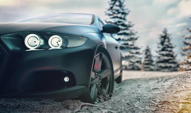 Czarny samochód sportowy
