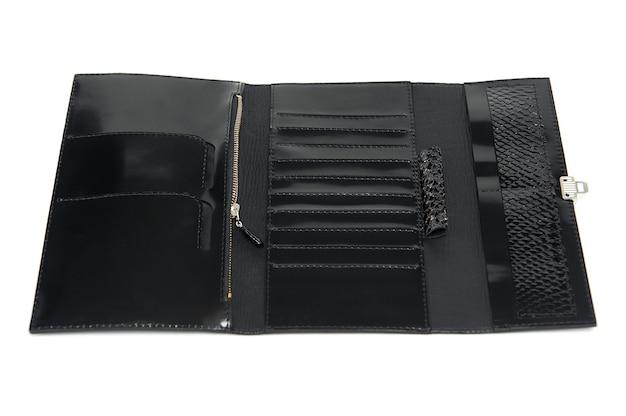 Czarny skórzany fantazyjny portfel damski