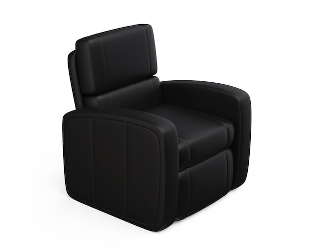 Czarny skórzany luksusowy fotel 3d render na białym tle wygodne krzesło viz