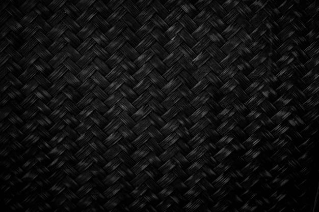 Czarny splot bambusowego tła czarne tło odpowiednie do projektowania lub umieść je w tle jako tło