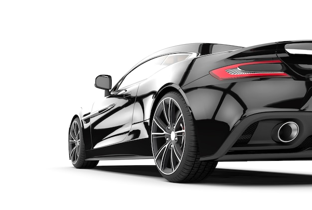 Czarny sportowy samochód odizolowywający na bielu