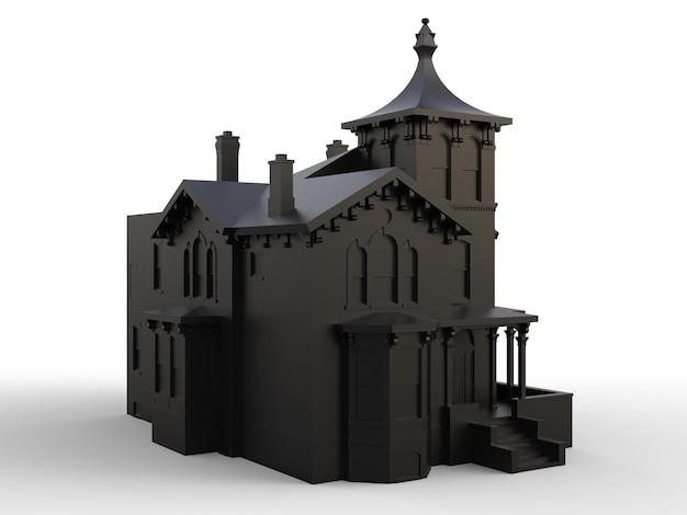 Czarny stary dom w stylu wiktoriańskim. ilustracja na białym tle. gatunki z różnych stron. renderowania 3d.