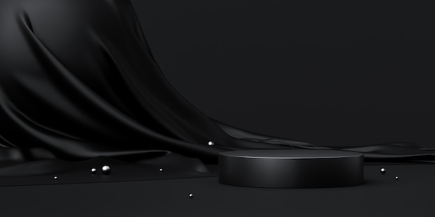 Czarny stojak na produkt lub cokół podium na luksusowym wyświetlaczu reklamowym z pustymi tłem. renderowanie 3d.
