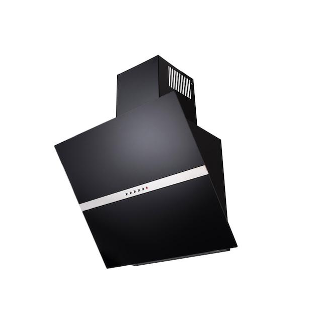 Czarny stylowy okap na białym tle