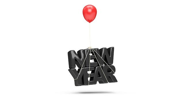 Czarny symbol nowego roku z czerwonym balonikiem na białym tle