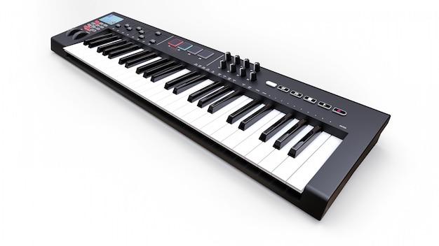 Czarny syntezator midi klawiatura na białym syntezatorach bliska