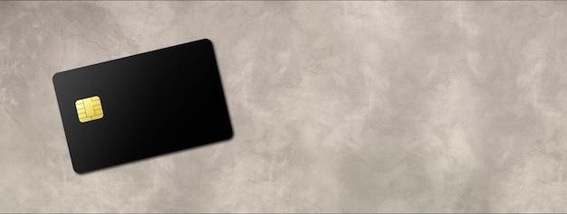 Czarny szablon karty kredytowej na banerze betonowym tle. ilustracja 3d