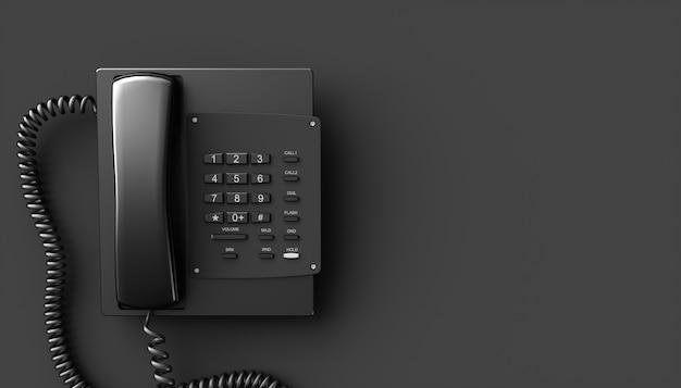 Czarny telefon domowy na czarnym tle, ilustracji 3d