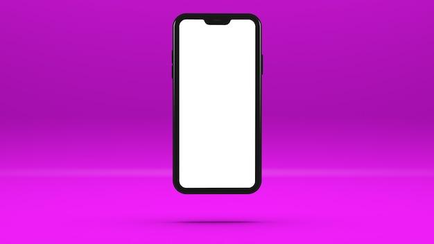 Czarny telefon komórkowy na fioletowej ścianie z pustym ekranem trójwymiarowa ilustracja. szablon,. 3d.