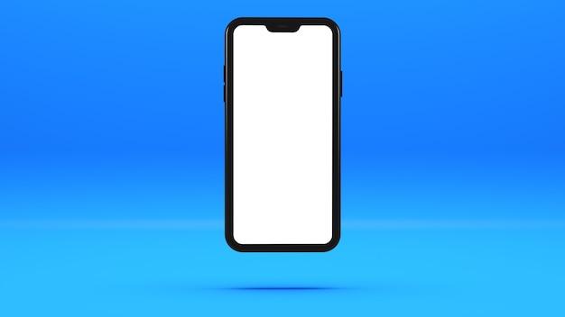 Czarny telefon komórkowy na niebieskiej ścianie z pustym ekranem trójwymiarowa ilustracja.