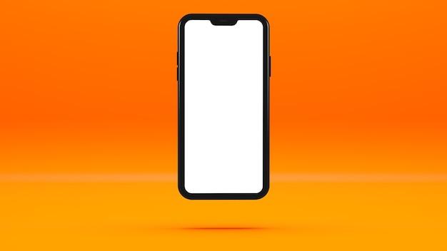 Czarny telefon komórkowy na pomarańczowej ścianie z pustym ekranem trójwymiarowa ilustracja.