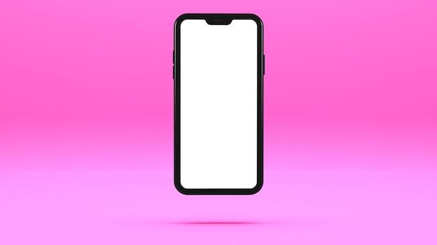 Czarny telefon komórkowy na różowej ścianie z pustym ekranem trójwymiarowa ilustracja.