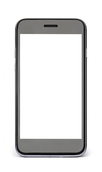 Czarny telefon z białym pustym ekranem odizolowywającym na bielu.