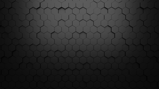 Czarny tło tekstury sześciokąta kształta abstrakta tło