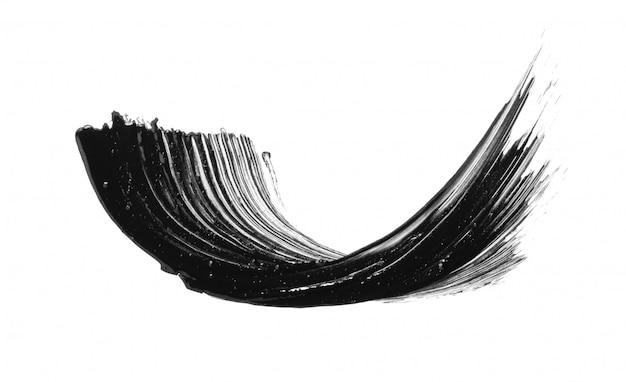 Czarny tusz do rzęs pędzla rozmaz rozmaz smugę na białym tle