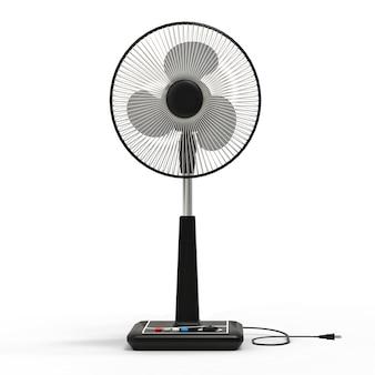 Czarny wentylator elektryczny. trójwymiarowy model na białej powierzchni. wentylator z przyciskami sterującymi na stojaku. proste urządzenie do wentylacji powietrza