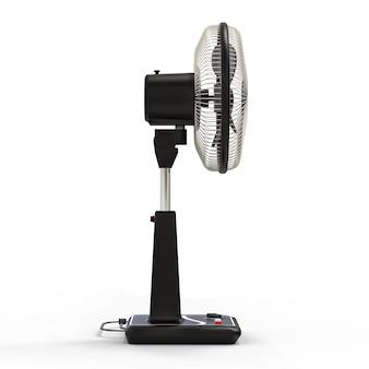 Czarny wentylator elektryczny z przyciskami sterującymi na stojaku