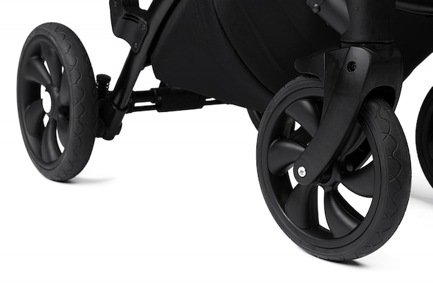 Czarny wózek na białym tle