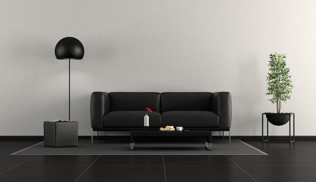 Czarny współczesny salon