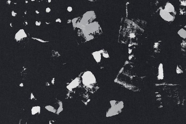 Czarny wzór tła z nadrukiem blokowym z plamami z tkaniny