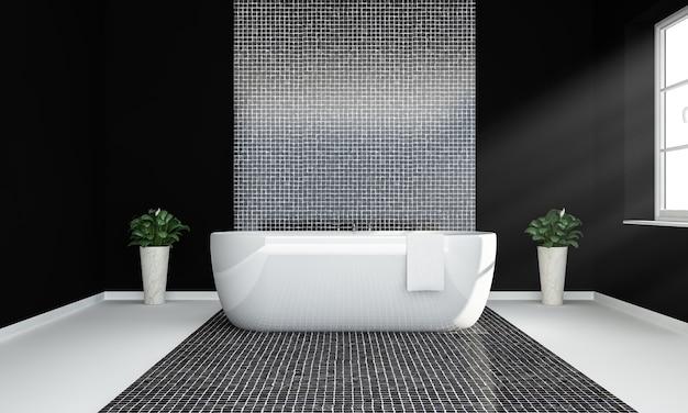 Czarny z przestronną luksusową łazienką z oświetleniem okna