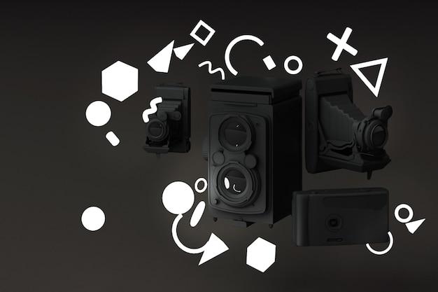 Czarny zabytkowy aparat otaczający światłem wzór memphis na czarnym tle.