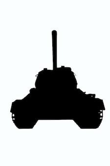 Czarny zarys ilustracji radzieckiego czołgu t-34 ze szczegółami na białym tle przycinania. przedni widok