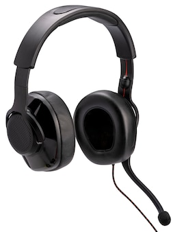 Czarny zestaw słuchawkowy do gier na białym tle ze ścieżką przycinającą, słuchawki komputerowe z mikrofonem urządzenie do gier.