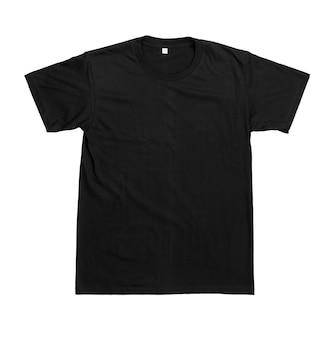 Czarny zwykły bawełniany t-shirt z krótkim rękawem szablon na białym tle