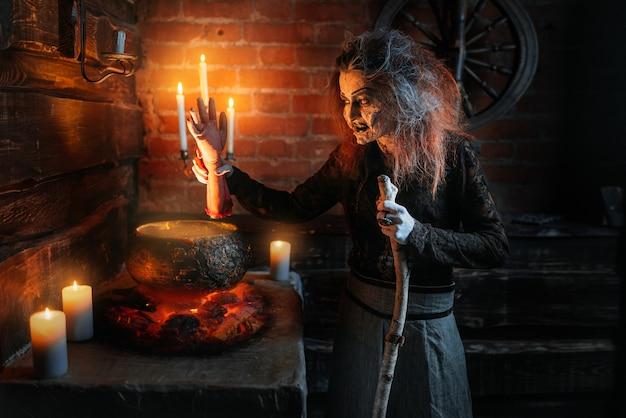 Czarownica czyta zaklęcie nad garnkiem z częściami ludzkiego ciała