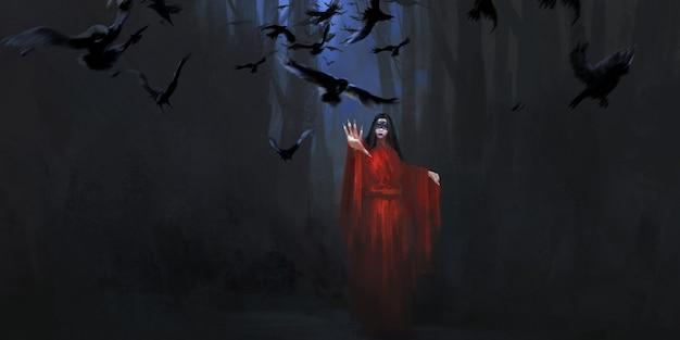 Czarownica w masce, ilustracja w ciemnym stylu.