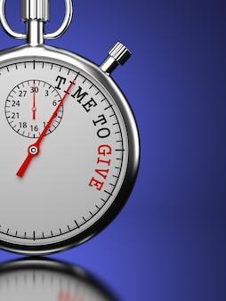 """Czas dać koncepcję. stoper z hasłem """"time to give"""". renderowanie 3d."""