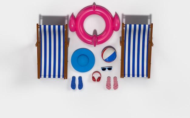 Czas letni z elementami, pływakiem flamingo, pierścieniem basenowym, piłką, pierścieniem pływającym i krzesłem